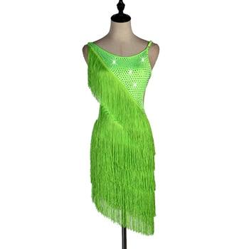 neon green latin dress cha cha salsa tango dresss  Rhinestones Costume Stage dress custom  sequin tassel fringe lq013