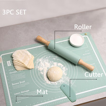Silicone Pastry Mat 3 Pieces Pastry Mat with Measurement Rolling Pin Cutter Counter Mat Rolling Baking Mat Dough Cookies Mat