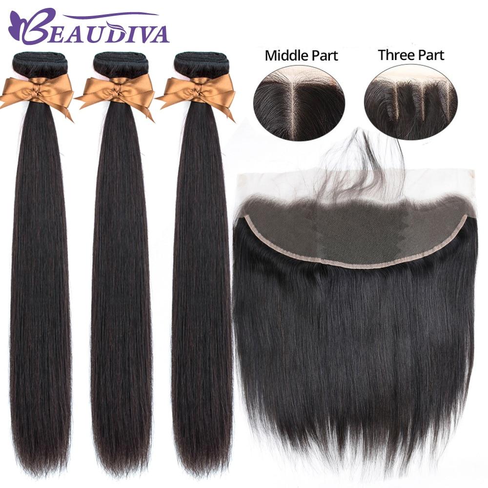 Beaudiva Brazilian Straight Hair Weave Bundles 3 Bundles With Frontal Human Hair Weave Bundles 13x4 Lace Frontal With Bundles