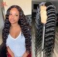 Парик Queenlife 13X6 с фронтальной сеткой, 18-32 дюйма, парик с глубокой волной, бразильские 100% человеческие волосы, парик с застежкой 4x4 5x5