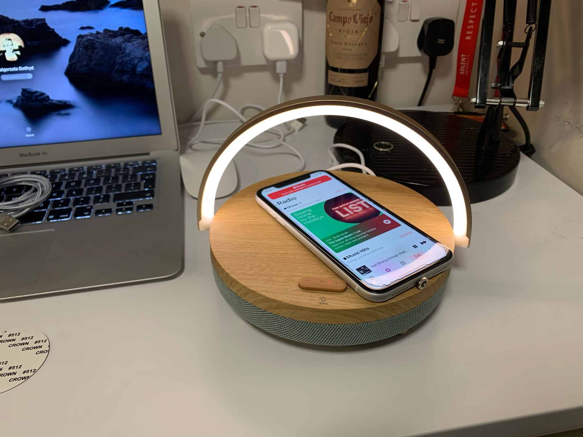 Wireless Charger, Bluetooth Speaker And LED Lamp photo review