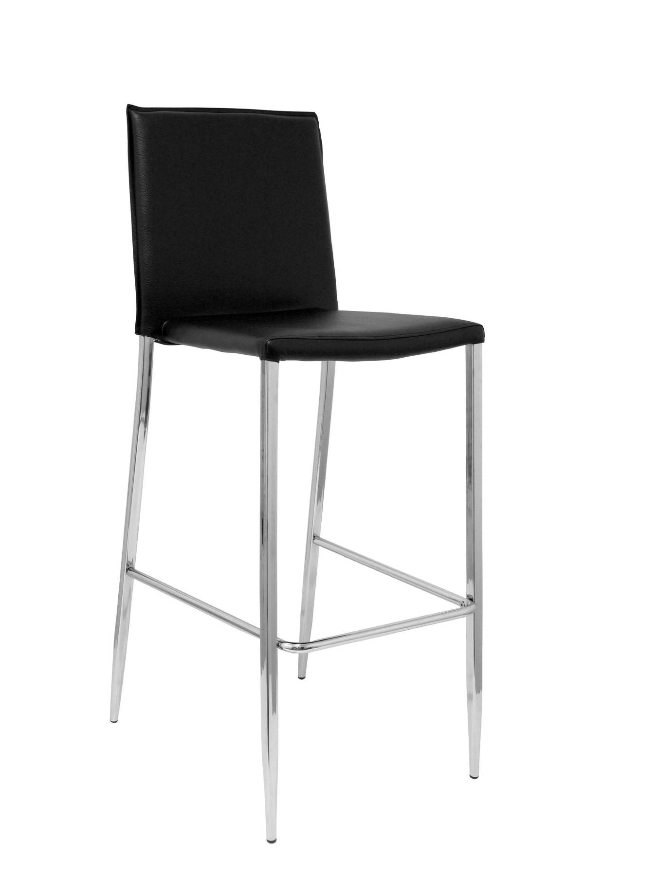 Pack Of 4 Barroom Stools Fixed 4 Legs, Upholstered In Similpiel Black, With Chrome Legs. PIQUERAS & CURLED Model L
