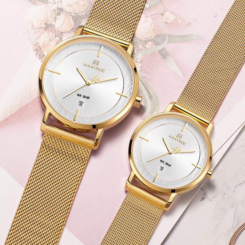 Couple Watch NAVIFORCE Mens Watch Simple Luxury Quartz Wrist watch gold Clock for Male Female Waterproof Lover's Thin Watch 2019