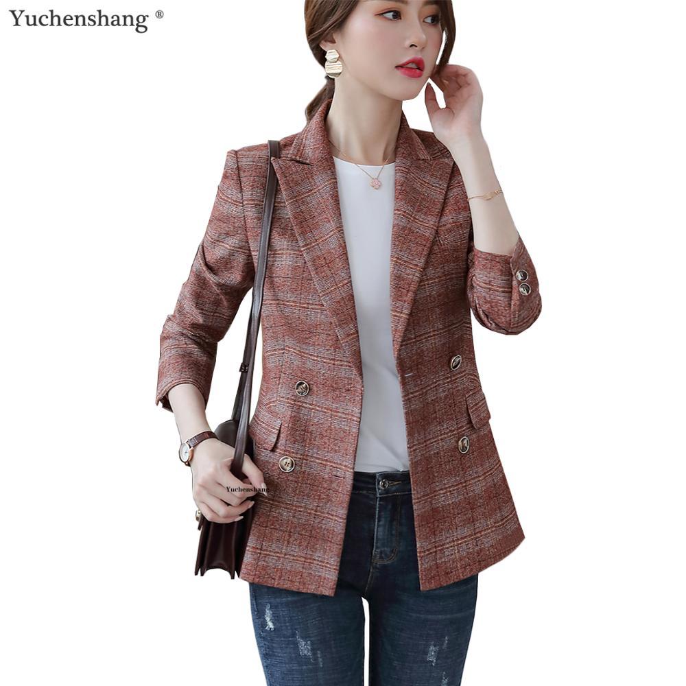 2019 New Plaid Blazer Women Fashion Jackets Loose Big Size 5XL Blue Purple Plaid Casual Outwear Coat