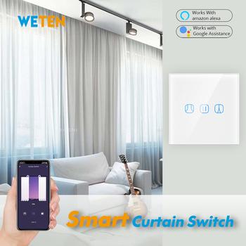 Tuya WiFi Smart Touch zasłona rolety rolety przełącznik Smart Life App pilot praca z Alexa Echo Google Home tanie i dobre opinie weten 0 125m s 1500W 110-240 v DS151 2 4GHz Tuya (Smart Life) Alexa Google Home