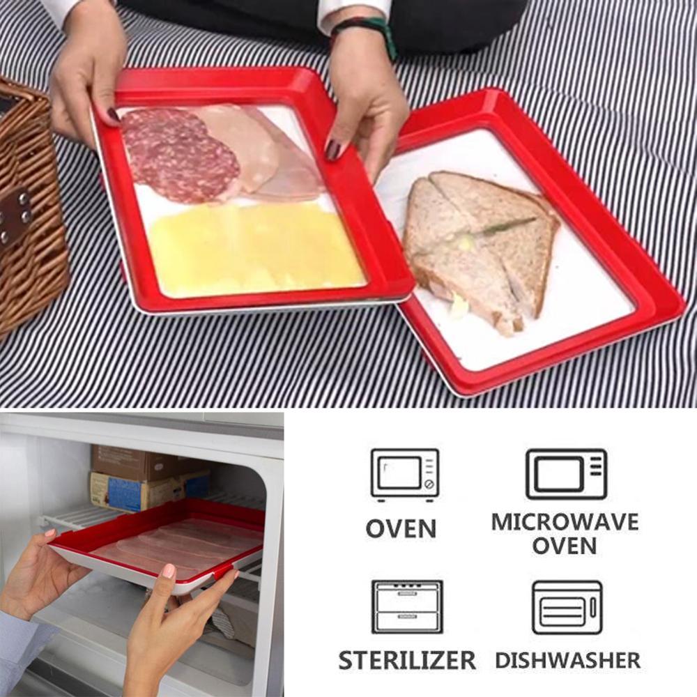 6 pièces plateau astucieux créatif cuisine articles alimentaire conteneur Set nourriture frais stockage micro-ondes couverture alimentaire conservation plateau livraison directe