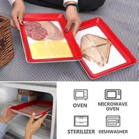 6pcs Clever Tray Creative Kitchen Items Food Container Set Food Fresh Storage Microwave Cover Food Preservation Tray Dropship