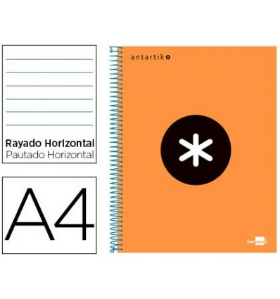 SPIRAL NOTEBOOK LEADERPAPER A4 MICRO ANTARTIK LINED TOP 120H 100 GR HORIZONTAL 5 BANDS 4 HOLES ORANGE FLFL