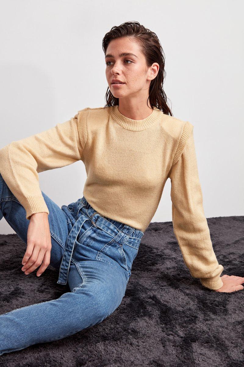 Trendyol Beige Shoulder Pads Sweater Sweater TWOAW20ZA0070