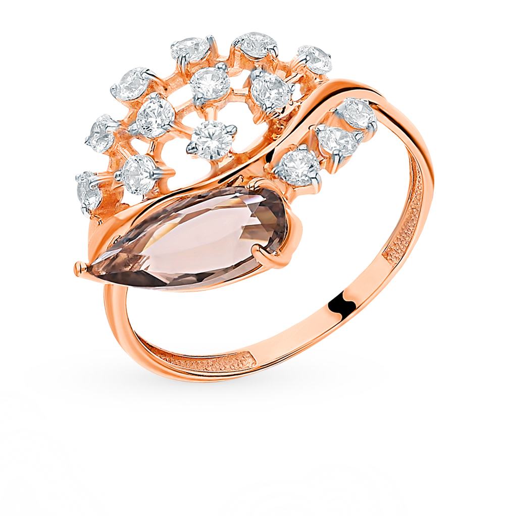 Gold Ring With раухтопазами And Cubic Zirconia Sunlight Sample 585