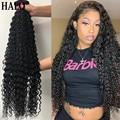 Бразильские пряди волос с глубокой волной 1, 3, 4, волнистые вьющиеся волосы, 30, 32, 40 дюймов, натуральные человеческие волосы, толстые пряди, нат...