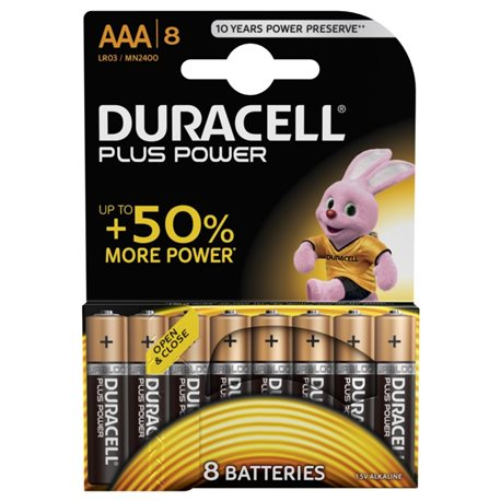 ALKALINE Battery LR03 AAA 1,5V POWER PLUS DURACELL 8 PC