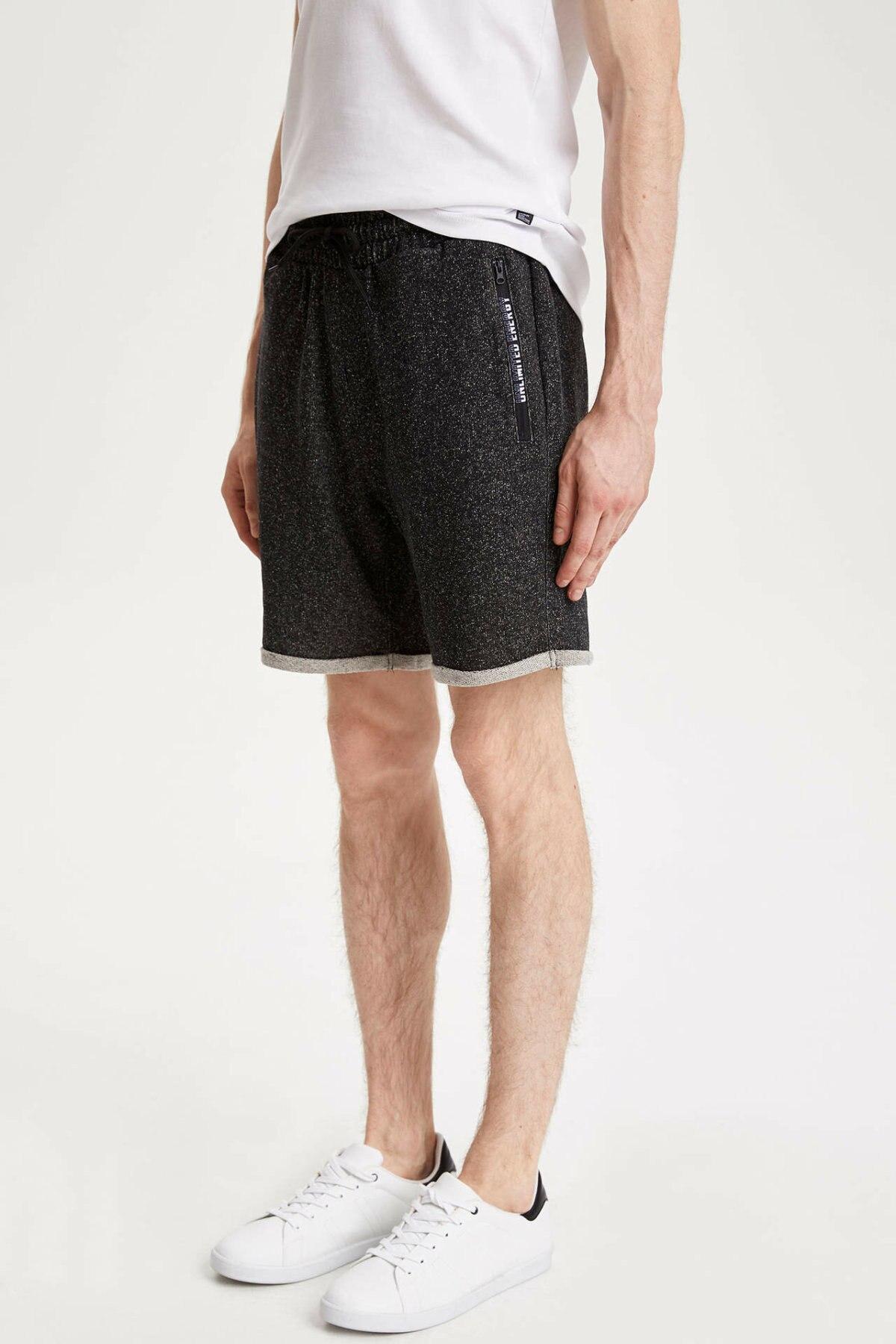 DeFacto Man Summer Casual Denim SHorts Men Lace-up Blue Black Short Bottom Male Mid-waist Shorts-K7161AZ19SM