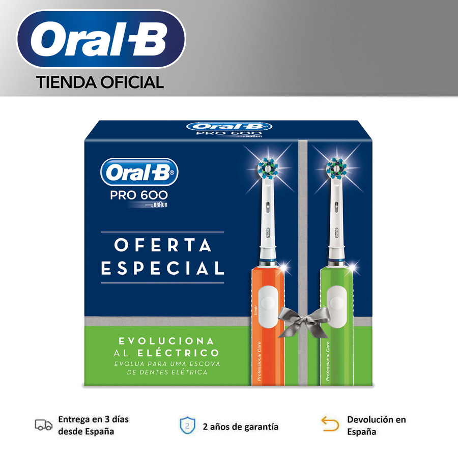 Oral B Pro 600 Crossaction, orange/green electric toothbrush, 3D cleaning, professional timer, daily cleaning