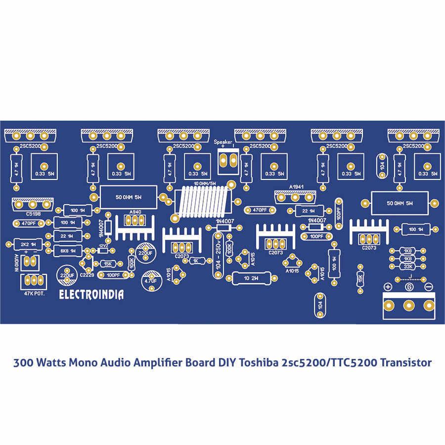 300 ואט מונו אודיו מגבר לוח DIY טושיבה 2sc5200 - TTC5200 טרנזיסטור כולל 1X300 ואט מגבר