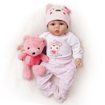 55cm Reborn Baby Doll Cute Toys for Girl 2 Outfits Real Newborn Bebe Birthday Gifts