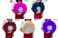 FQ04 5Pcs/bag Free shipping 2019 New style African Soft Feather Hand Fan and Gold Handle Dance Fans for Party 5colors