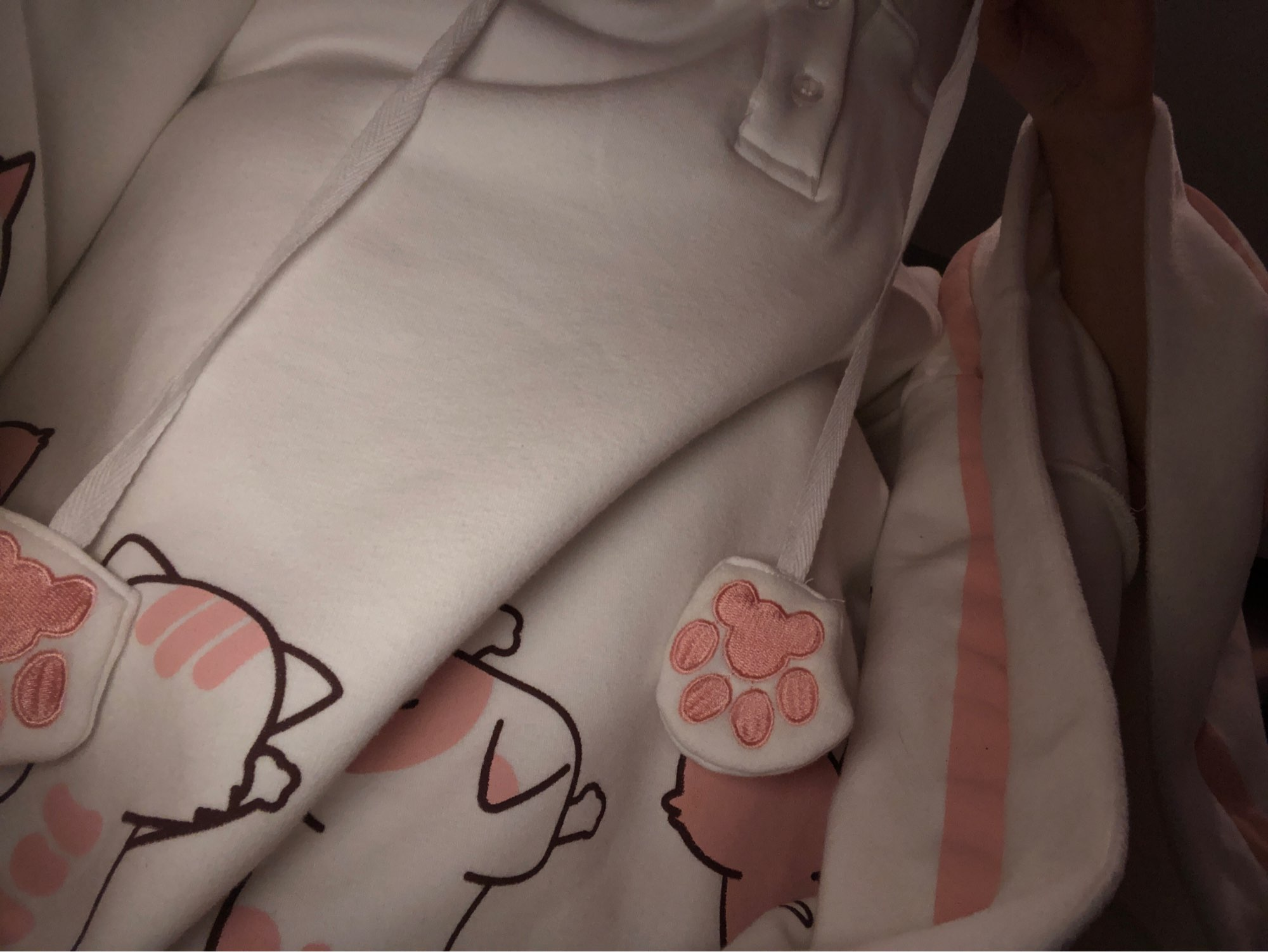 Japanese Kawaii Cat Print Cat Ears Hooded Coat Sweet Lolita Cute Girls White Pullover Cloak Autumn Winter Outwear photo review