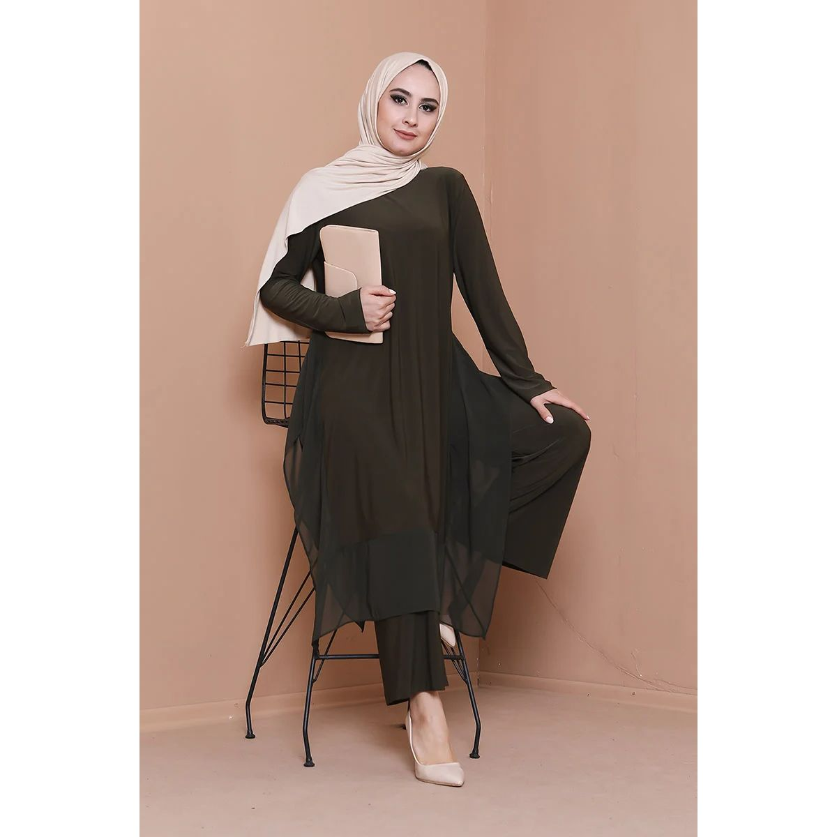 2 Pieces Muslim Women Set Muslim Sets Hijab Abaya Kaftan Caftan Patns and Tunic Set Muslim Women Fashion Long Dress Turkey Dubai