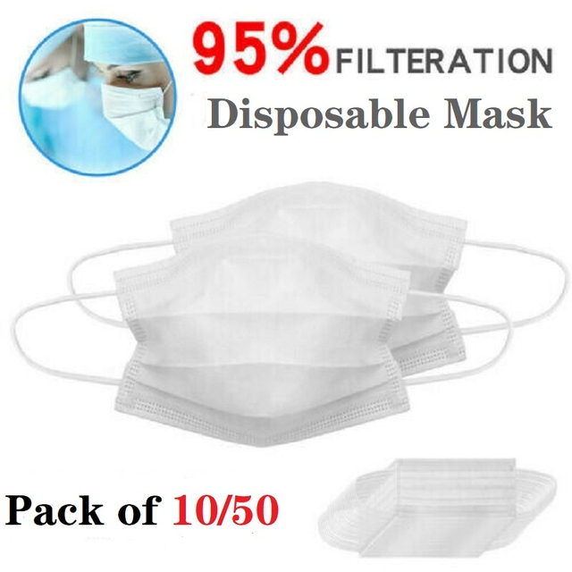 10/50Pcs Disposable Face Masks White Adult 3-Layers Non-Wove Mouth Masks Anti-Dust Ear Loop Fast Shipping Blue Protective Masks
