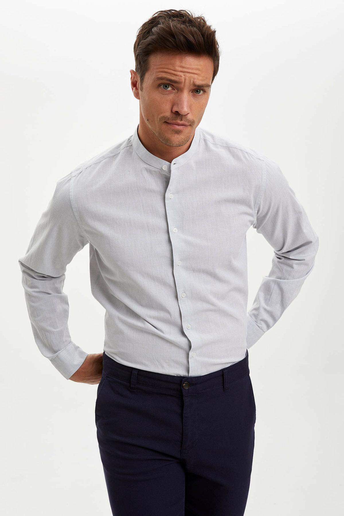 DeFacto Man Long Sleeve Shirt Men's Solid Color Shirts Men's Summer Shirts Men's Smart Casual Shirt -N6362AZ20SM
