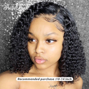 Jerry Curly Lace Front Human Hair Wigs With Baby Hair Brazilian Remy Hair Curly Bob Wigs For Women Pre-Plucked Wig(China)