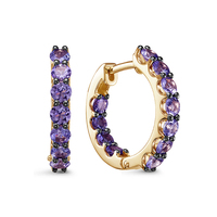Gold earrings 585 with stones: tanzanite, women's earrings, fashion jewelry, natural stones, female.