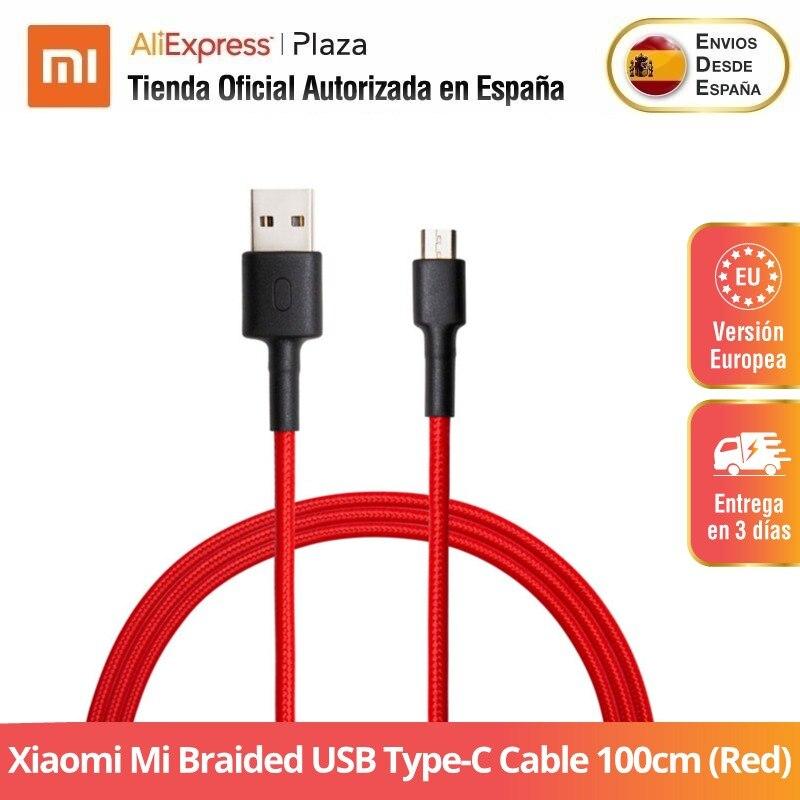 Xiaomi Mi câble USB type-c tressé 100cm (rouge) | Estructura résistente | Diseño sin enredos | Carga rápida 3A