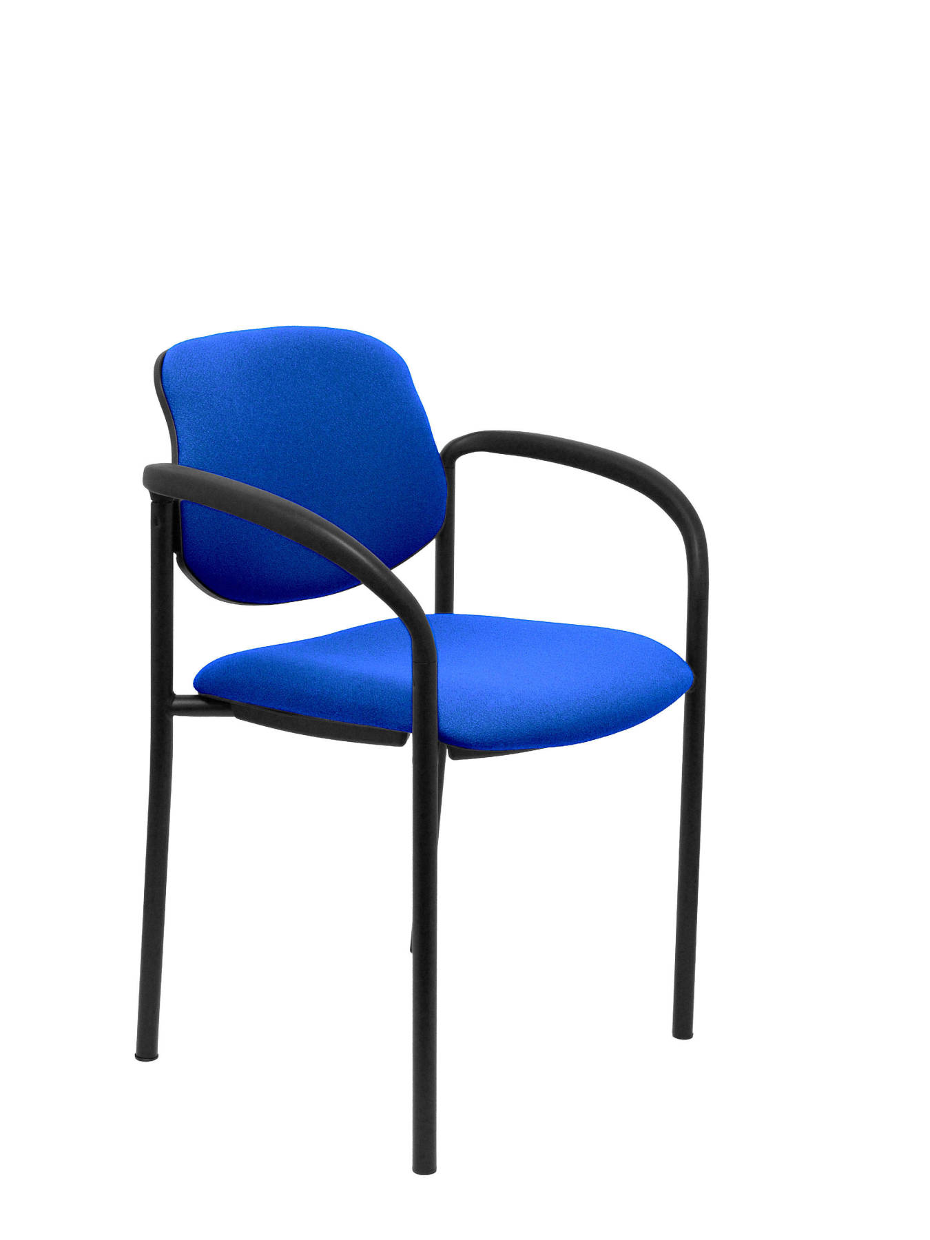 Visitor Chair 4's Topsy, With Arms And Estructrua Negro-up Seat And Backstop Upholstered In BALI Tissue Color Blue Mari