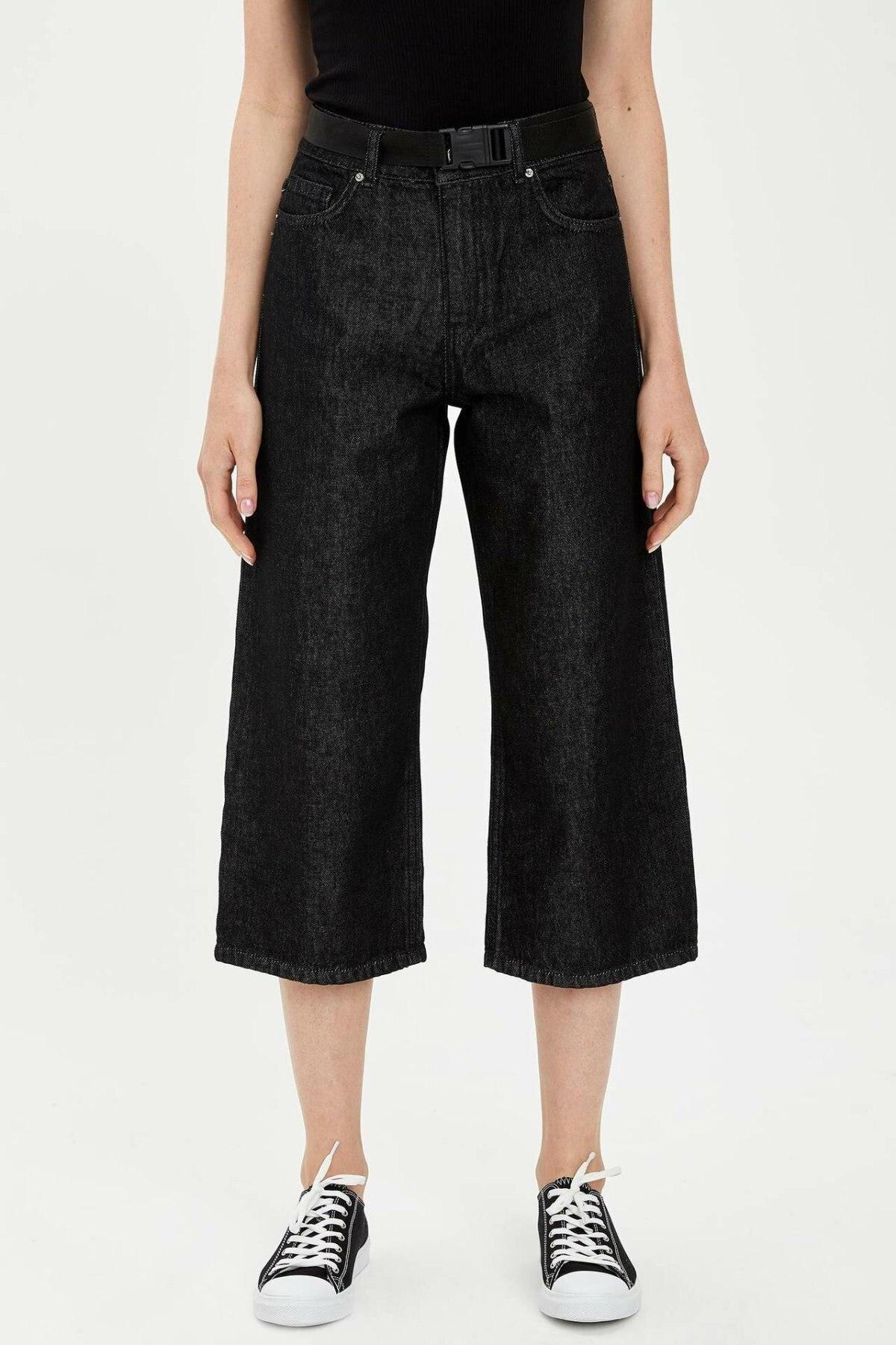 DeFacto Woman Wide-leg Black Denim Jeans Women Black Ninth Pants Female Loose Casual Black Denim Bottoms Trousers-L5024AZ19HS