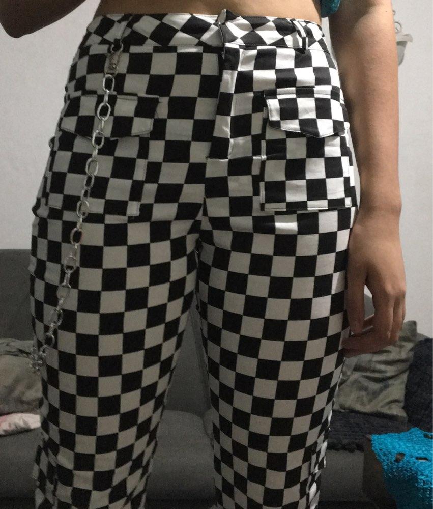 Plaid Pencil Casual Jogger Pant Women Pockets Full Length Chain Polyester Pants Female Loose Checkered Pantalon Fashion photo review