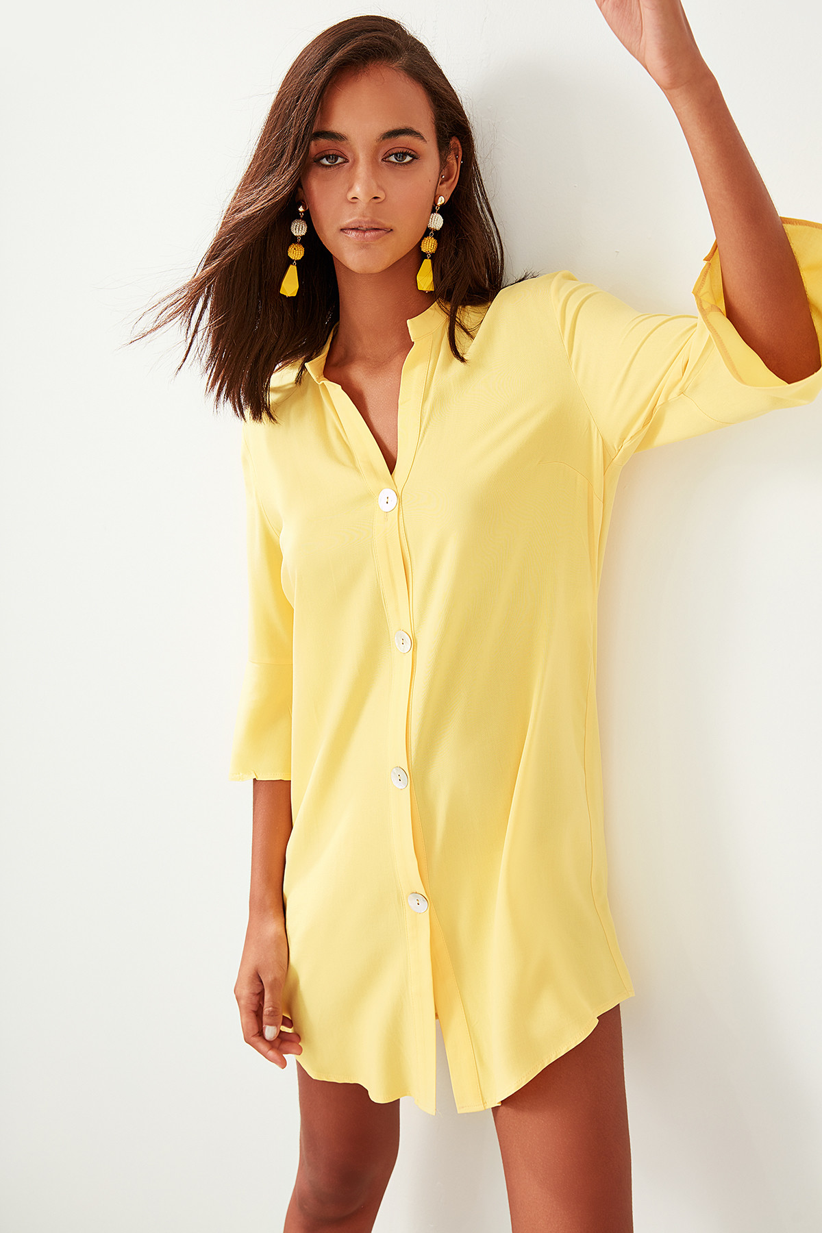 Trendyol Viscose Button Shirt Beach Dress TBESS19WR0039