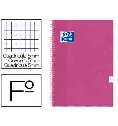 SPIRAL NOTEBOOK OXFORD TOP EXTRADURA FOLIO 80 H GRID 4 MM CHORAL TOUCH 5 PCs