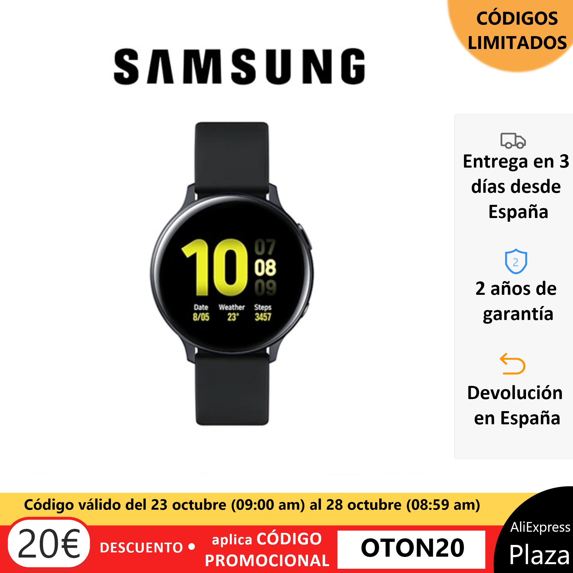 ¡Chollo!Samsung Galaxy Watch Active2 por 149 euros (-36% desc.)