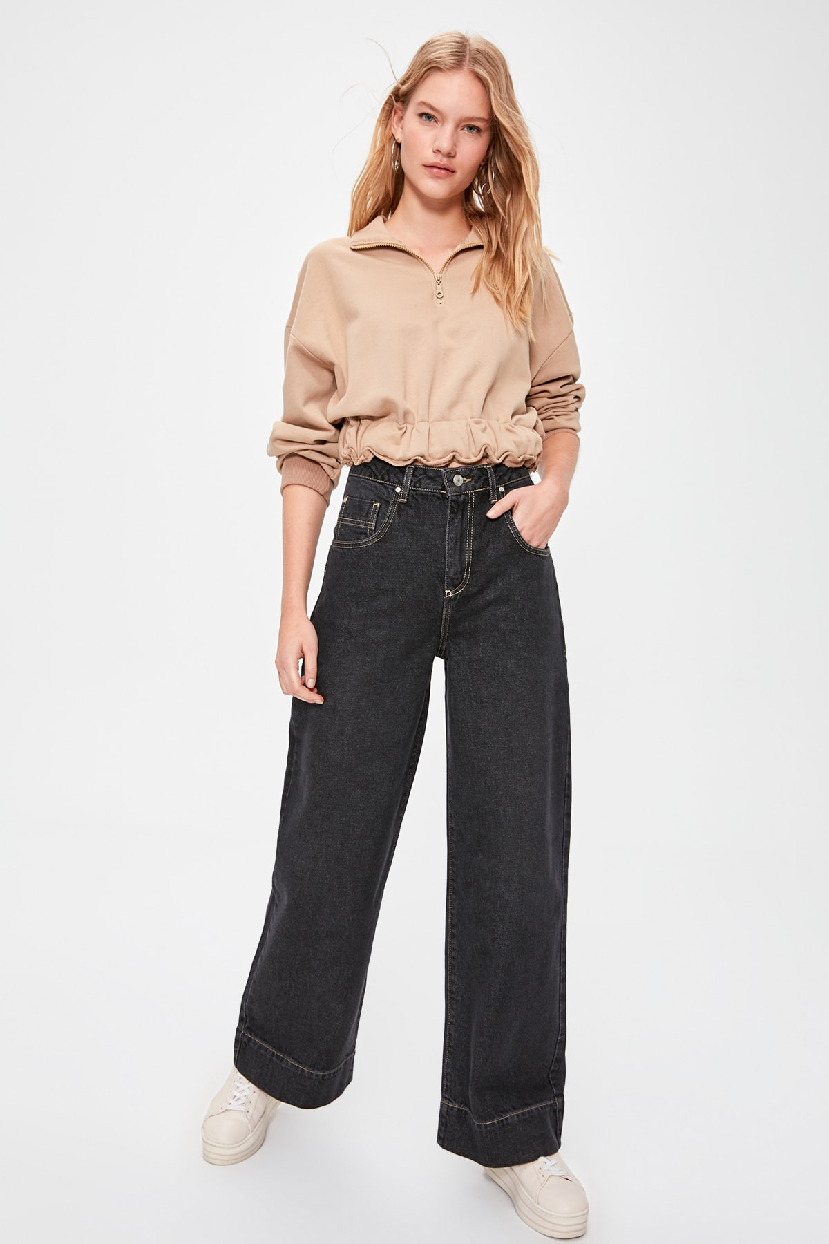 Trendyol Stitch Detail High Bel Wide Leg Jeans TWOAW20JE0332