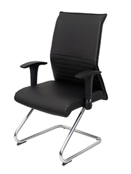 Кресло confidante эргономичное для поездок с коньком хромированным сидением и спинкой, обитым кожей, цвет черный TAPHOLE
