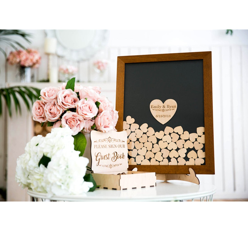 custom name date Guestbook ideas alternative drop box hearts drop wooden wedding guest book frame wedding gift rustic shadow box image