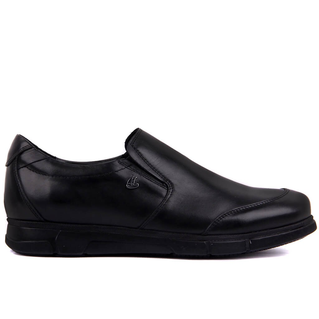 Sail-Lakers Black Genuine Leather Step-in Men Casual Shoes