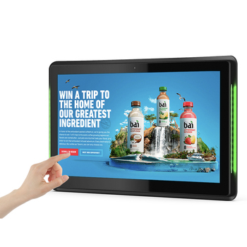 10.1 inch Android 8.1 PoE Wall mounted tablet pc with LED bars for conference meeting room schedule display open source, rooted 2