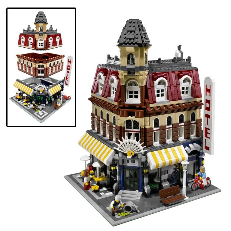 City Building Blocks Sets Street Creator 15002 Cafe Corner Bricks Model Kids Toy