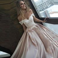 Eightree Boho Strapless 2019 A Line Wedding Dress Backless Satin Sleeveless vestido de noiva Appliques Court Train Bridal Gown