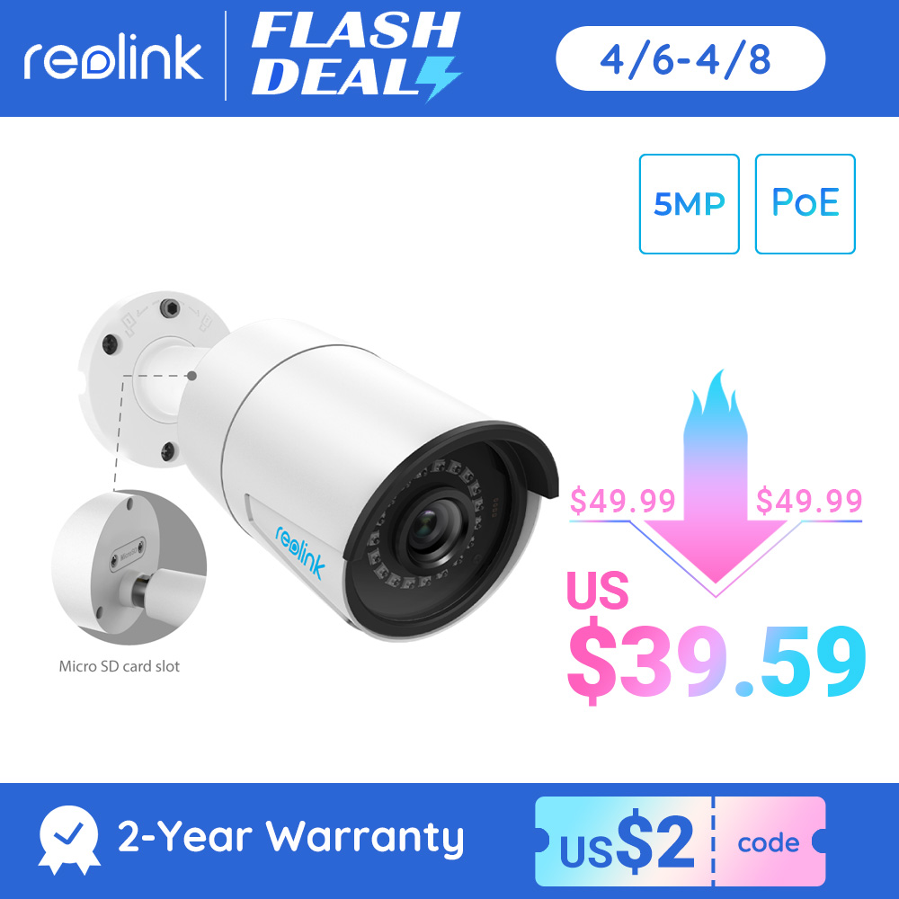 Reolink outdoor ip camera 5MP PoE waterproof Infrared night vision SD card slot Onvif bullet home video surveillance RLC 410|ip camera poe|security videoip camera poe 4mp - AliExpress