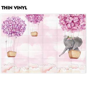 Image 3 - Funnytree Fondo de cumpleaños para foto de niña rosa, elefante, flor, globo de aire caliente, Fondo de ducha de bebé, fotofono de fotografía