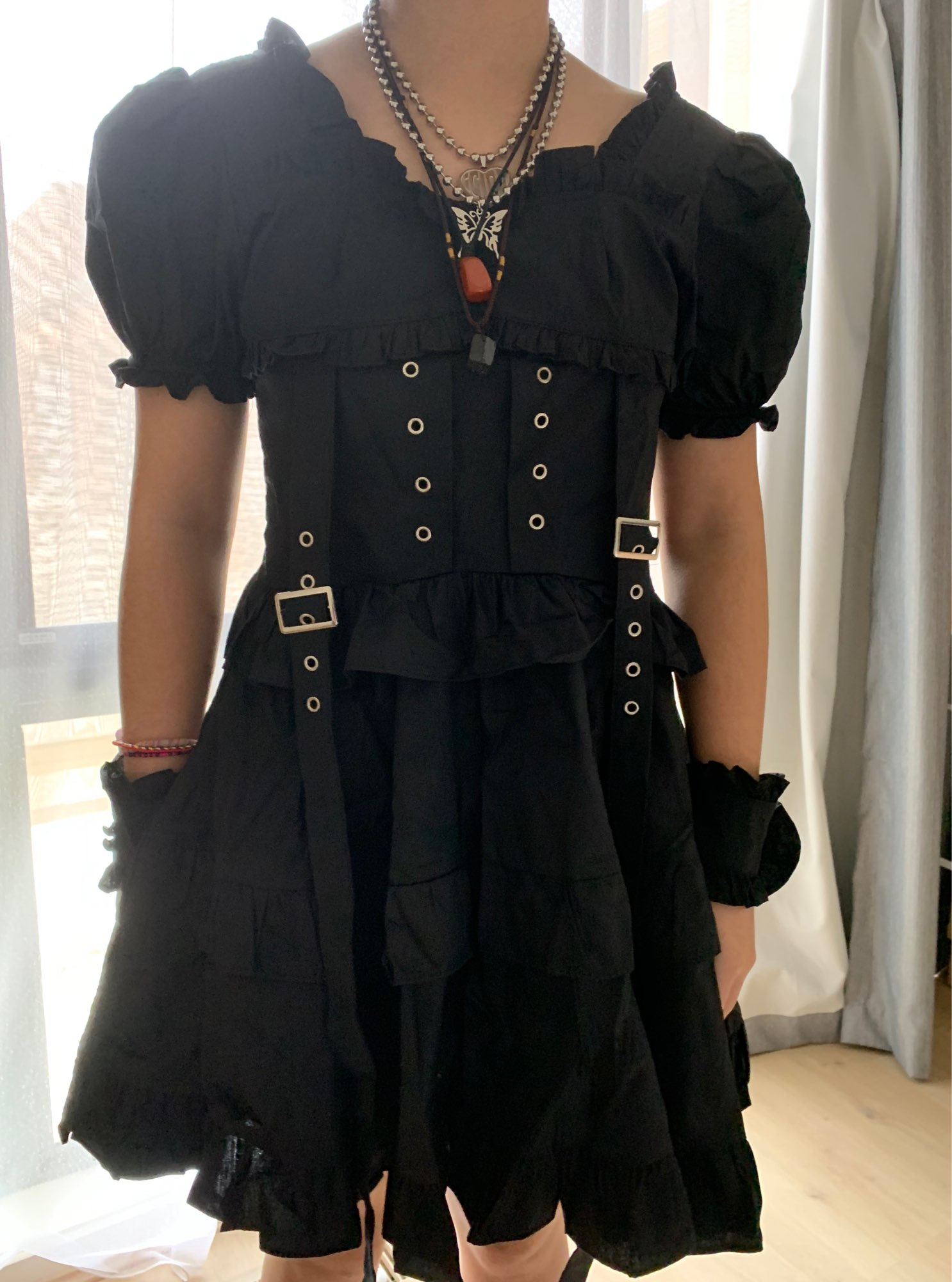 Gothic Women Dress with High Waist Ruched Ruffles and Straps photo review