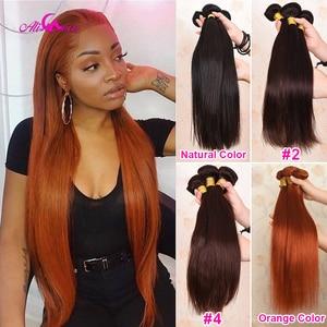 Image 1 - Ali Coco brésilien cheveux raides armure paquets Orange gingembre 100% cheveux humains paquets 1/3 pièces 8 30 pouces Non Remy Extensions de cheveux