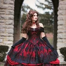 Gótico Belle Rojo Negro encaje vestido de novia Vintage encaje corsé sin tirantes con capas belleza de hombro de talla grande vestido de novia