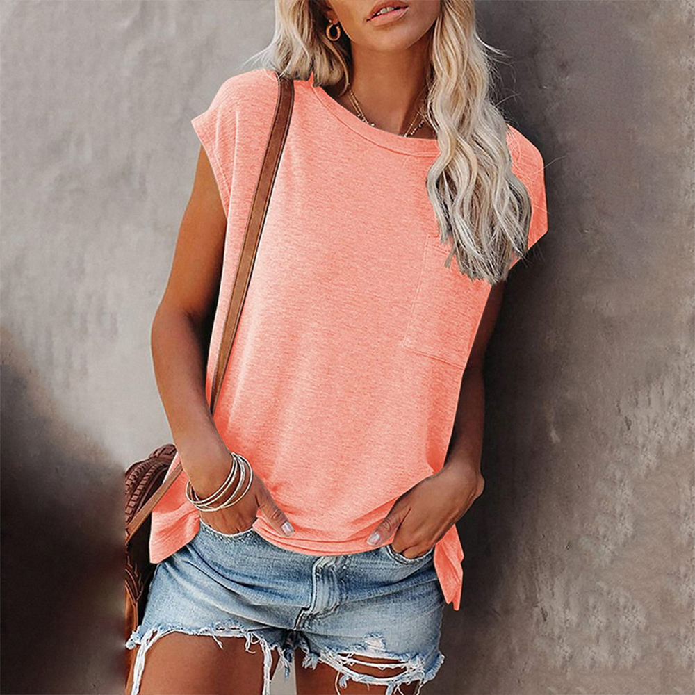 Solid Tops Tee Shirts Women Pocket T shirt 2021 Summer Casual O neck Loose T Shirt Short Sleeve Female Soft Tops mujer camisetas