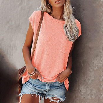 Solid Tops Tee Shirts Women Pocket T-shirt 2021 Summer Casual O-neck Loose T Shirt Short Sleeve Female Soft mujer camisetas