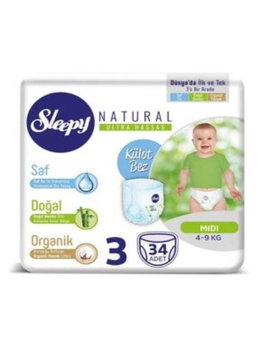 Natural Panty Diapers Size 3 Midi 34 Pieces 4-9Kg Bamboo Cottony Disposable Healthy Baby Diapers,