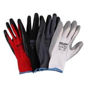 Image 3 - שחור כפפות GMG שחור אדום לבן פוליאסטר שחור אפור Nitrile חלק ציפוי בטיחות עבודה כפפות מכניקה יד כפפות לעבודה